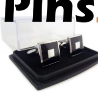 Gemelos personalizados de empresa con caja